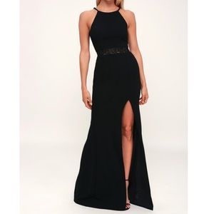 Lulus About Your Heart Black Lace Maxi Dress